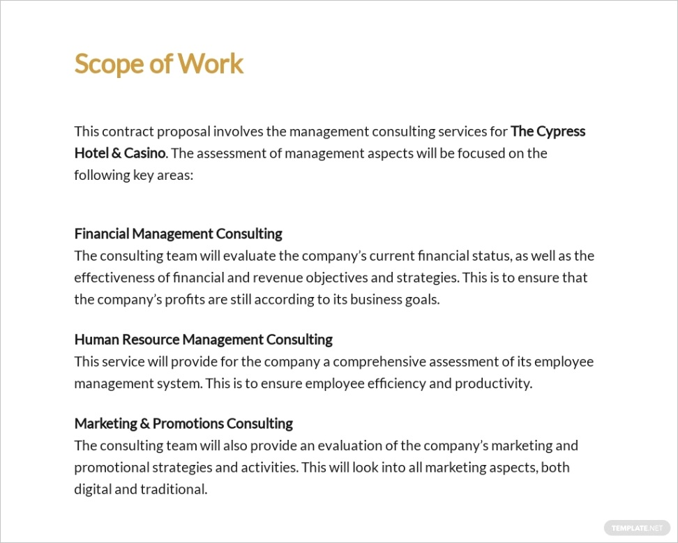 hotel management contract proposal