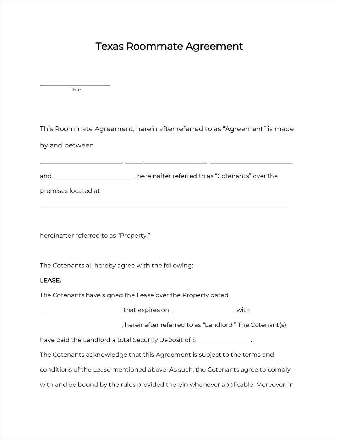 texas room rental agreement