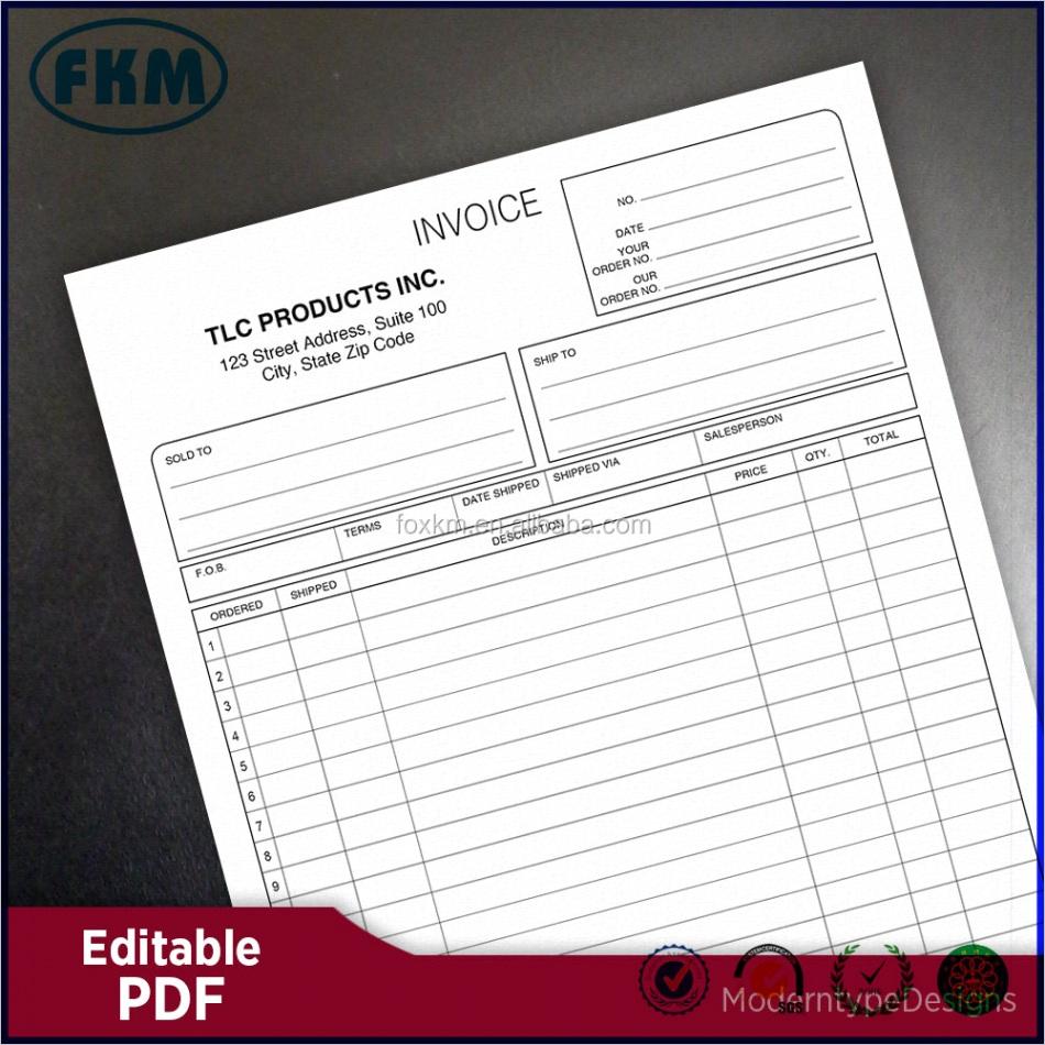 Editable Invoice PDF Custom Template ml