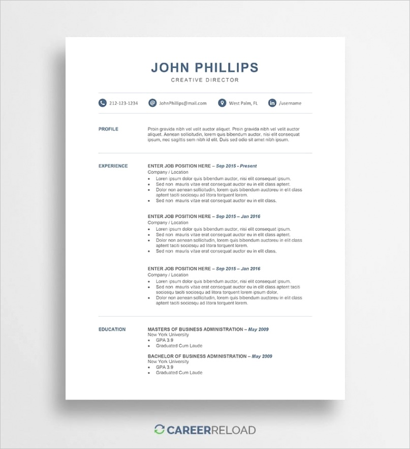 resume template john
