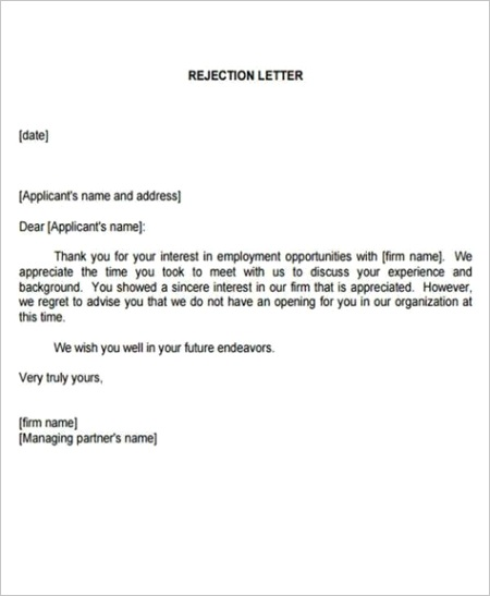 job rejection letter templateml