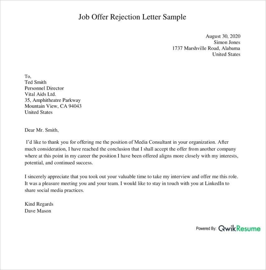 how to decline a job offer