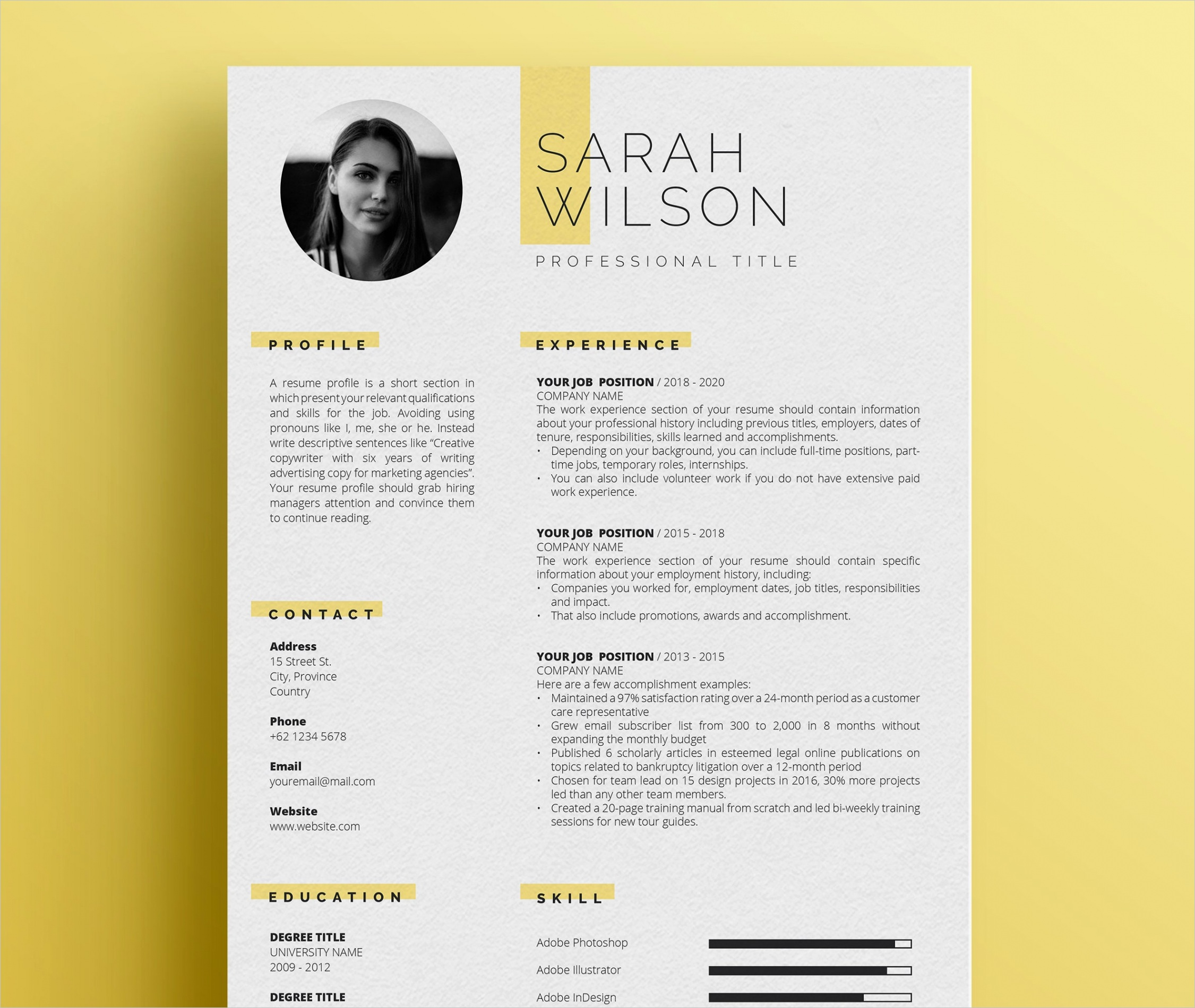 professional resume template for