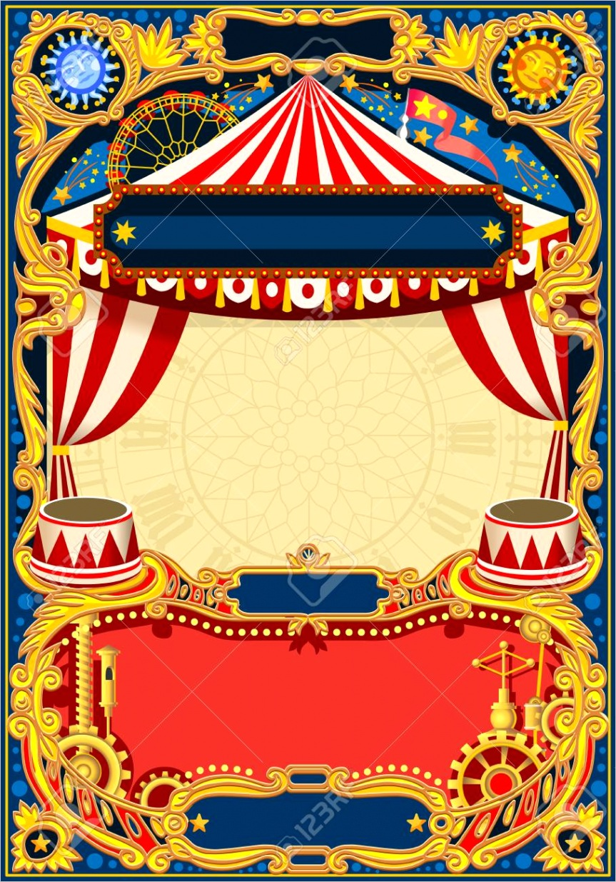 photo circus editable frame vintage template with circus tent for kids birthday party invitation or post q