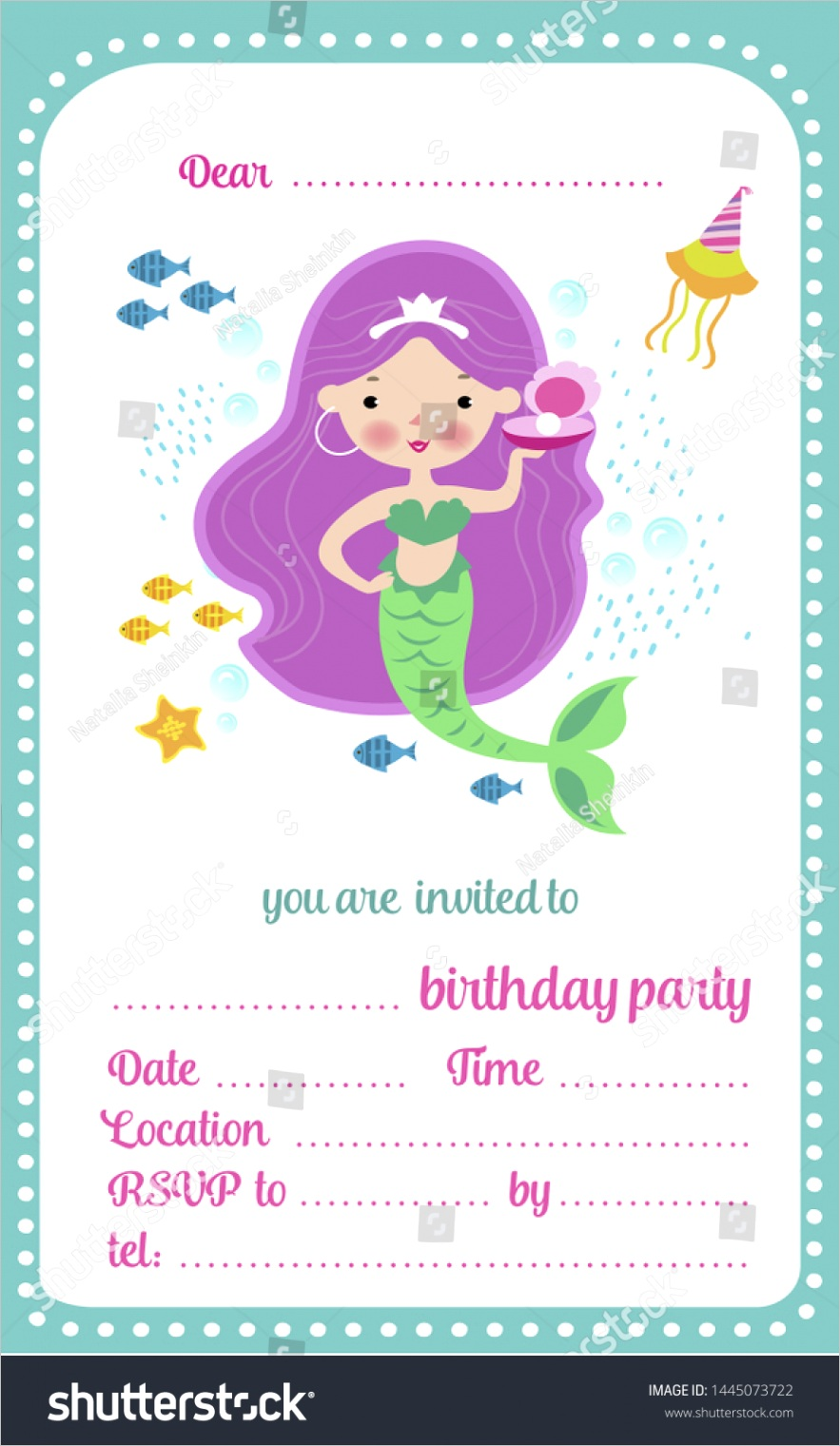 kids birthday party invitation template card