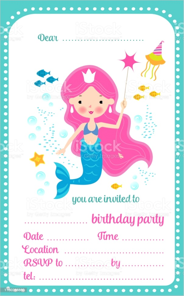 kids birthday party invitation template card with cute little mermaid and a place gm