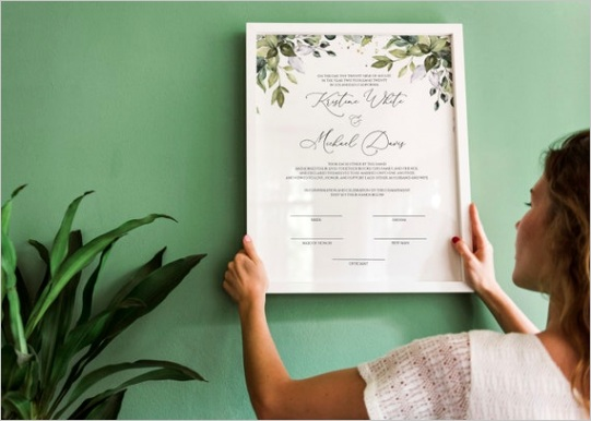 marriage certificate template printable
