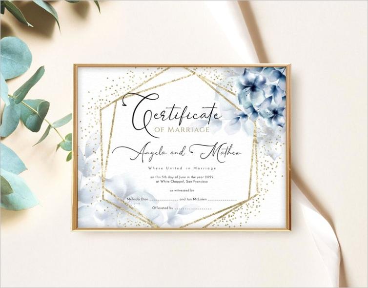 Printable Boho Wedding Certificate Template with Blue Flowersm