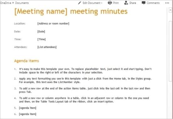 meeting minutes templateml