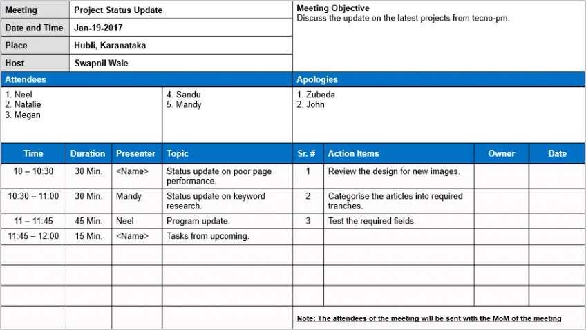 meeting minutes template free ml