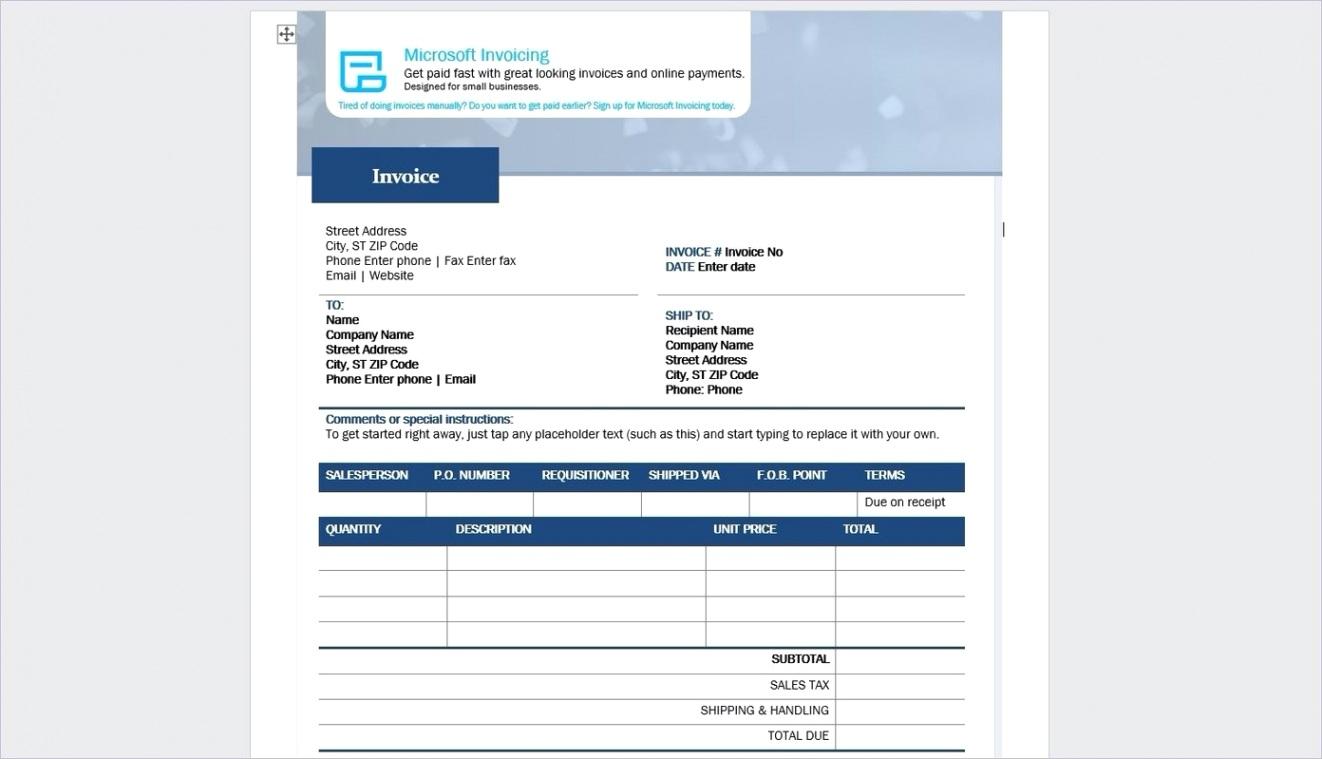 microsoft word templates invoice