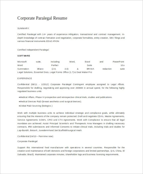 sample paralegal resume templates