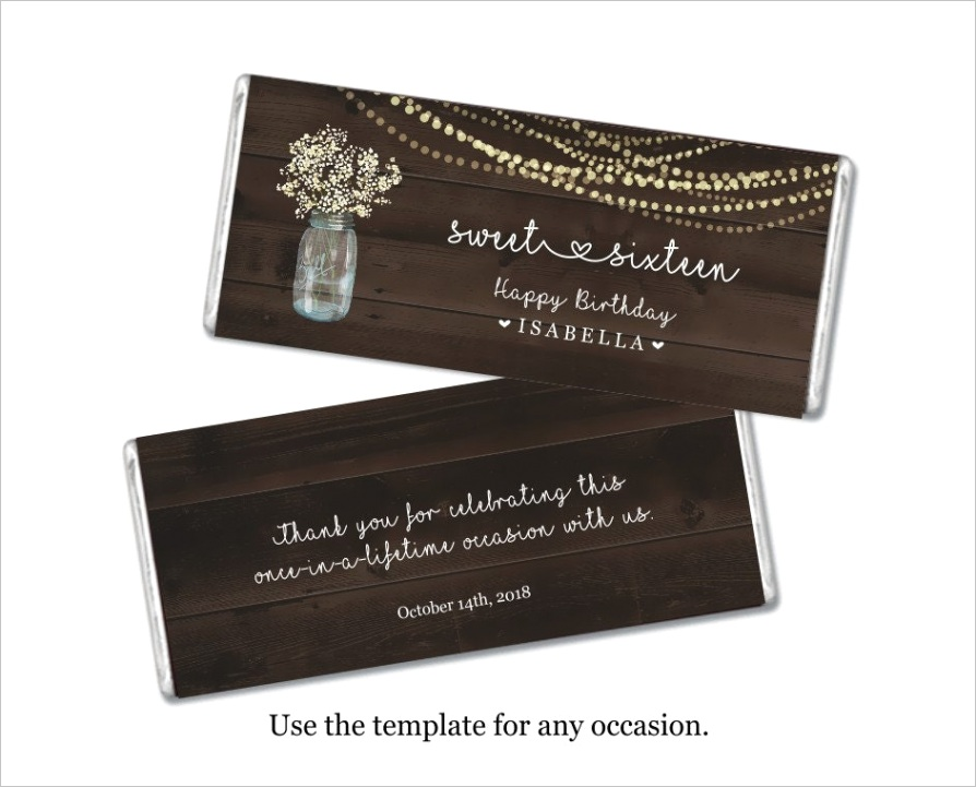personalized hershey wrapper template