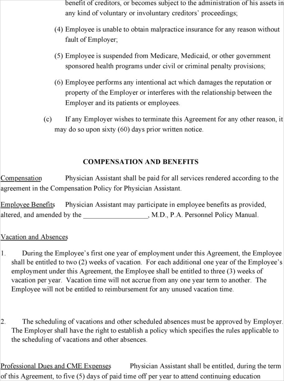 Physician assistant employment agreement terms of agreementml