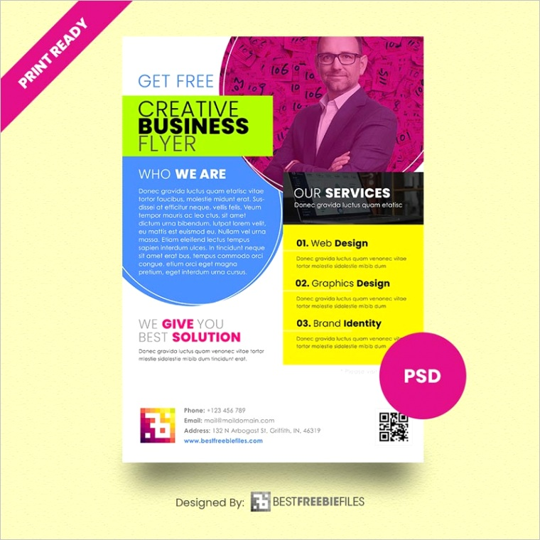 free print ready business psd flyer template