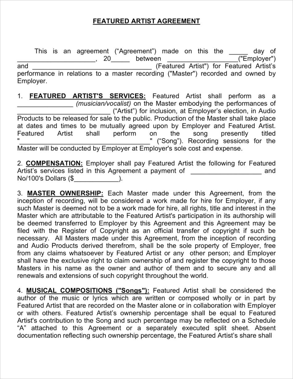 featured artist agreement 1