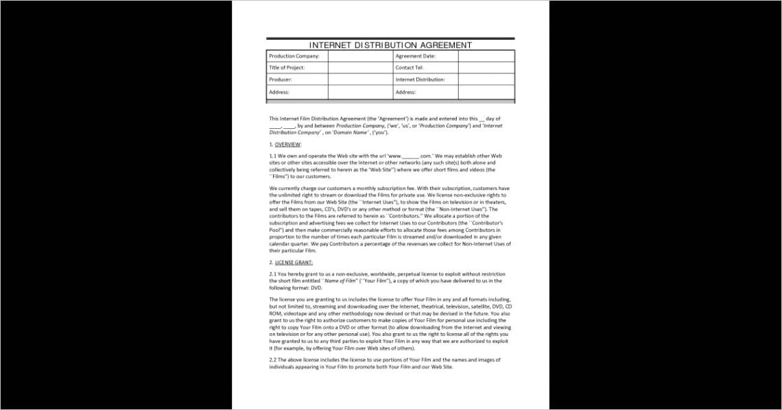 distribution agreement internet