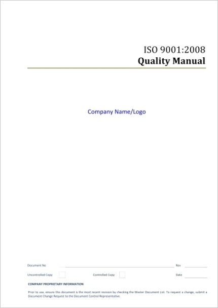 quality manual procedure template giza systems