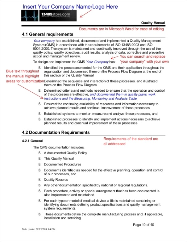 sample iso quality manual procedures package