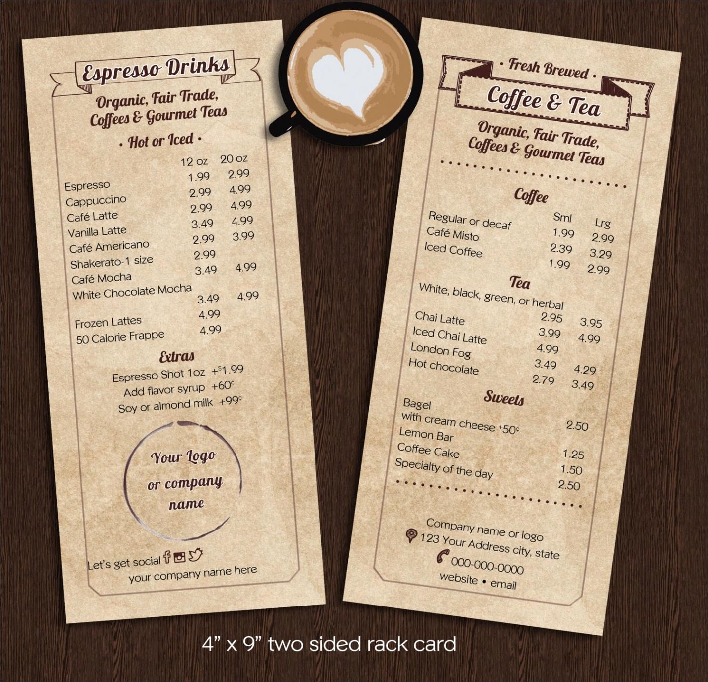 coffee cart menu template rack card