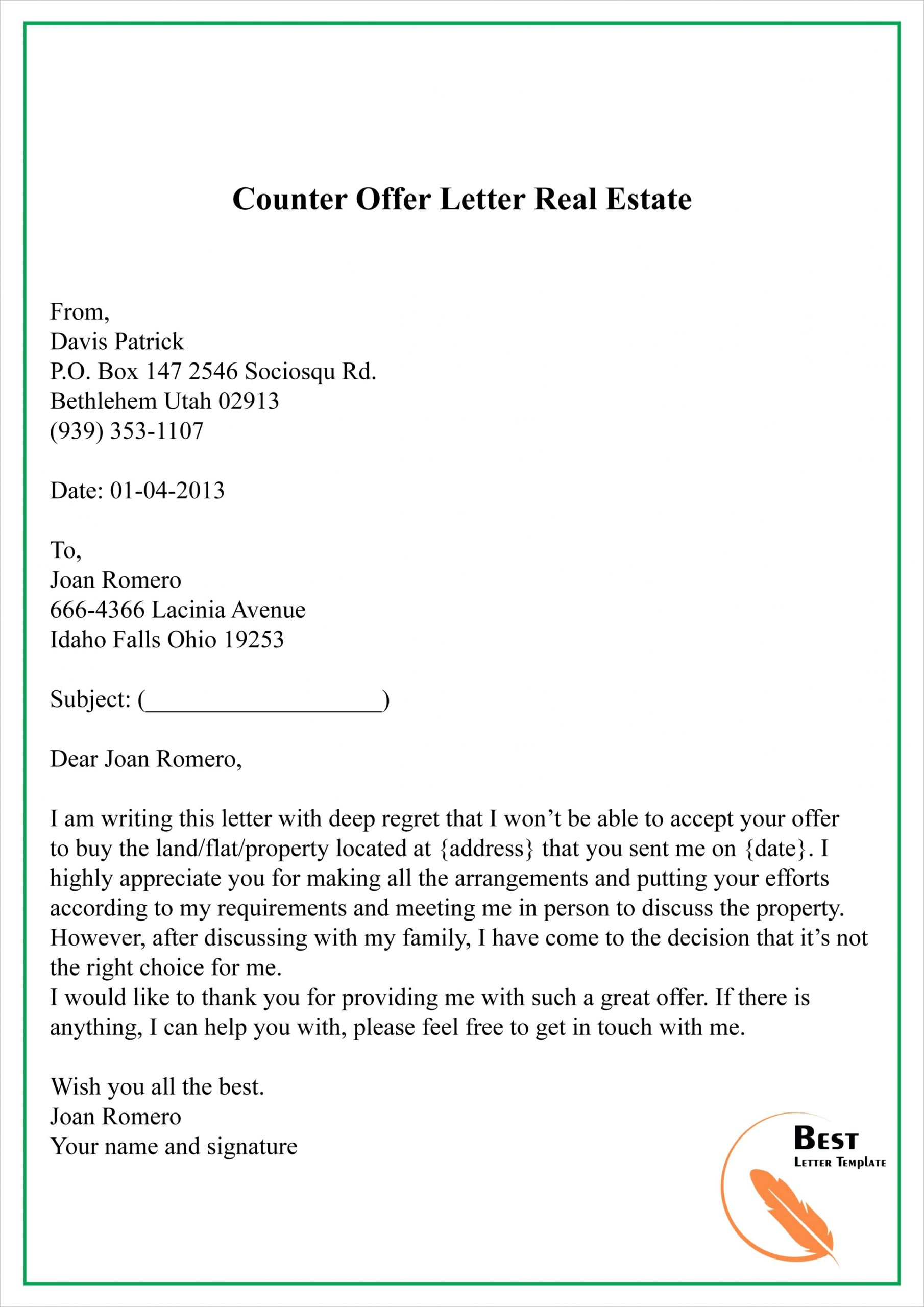real estate offer letter template free