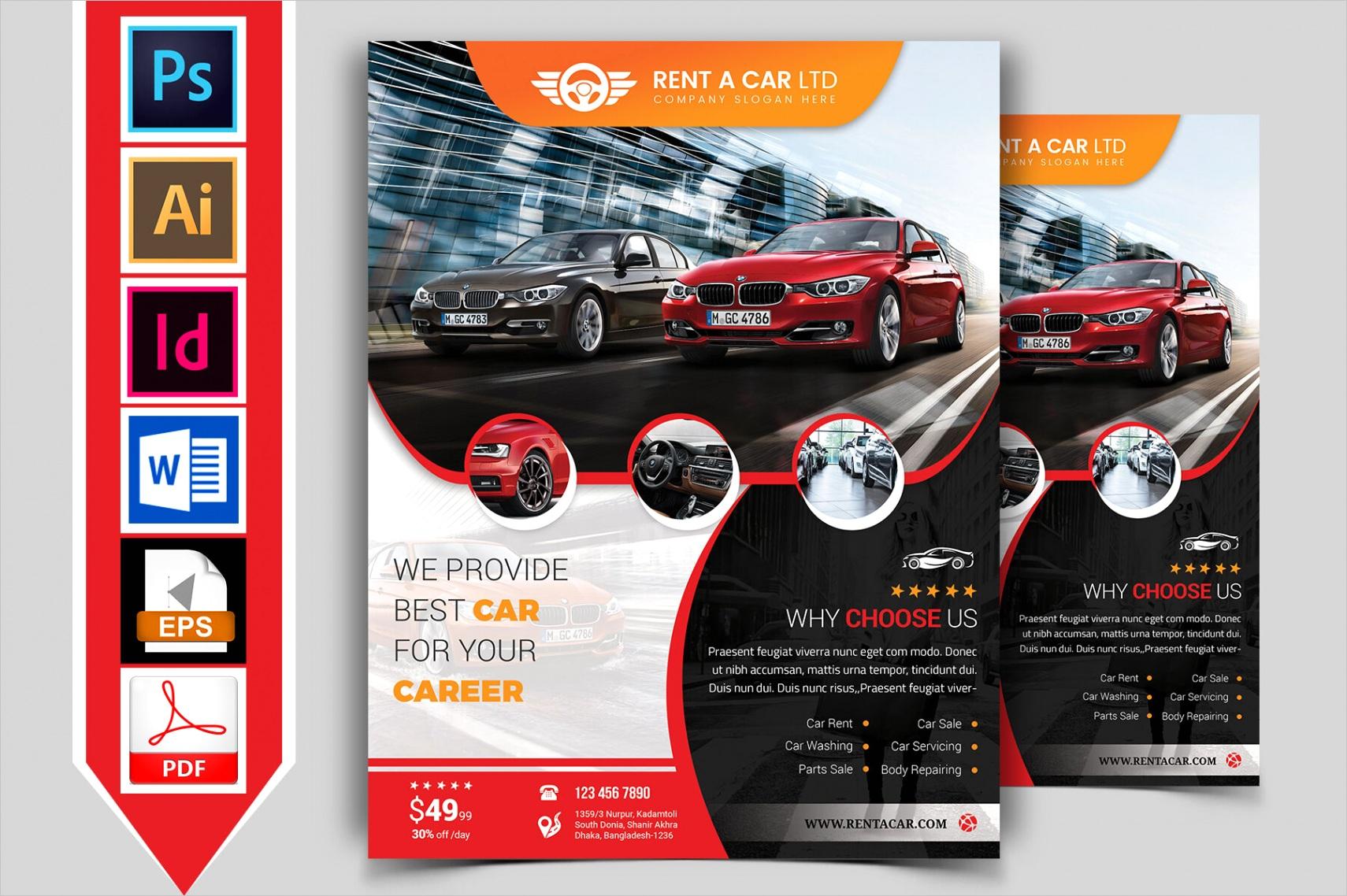 rent a car flyer template vol 05
