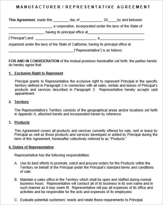 sales representative agreement templatesml