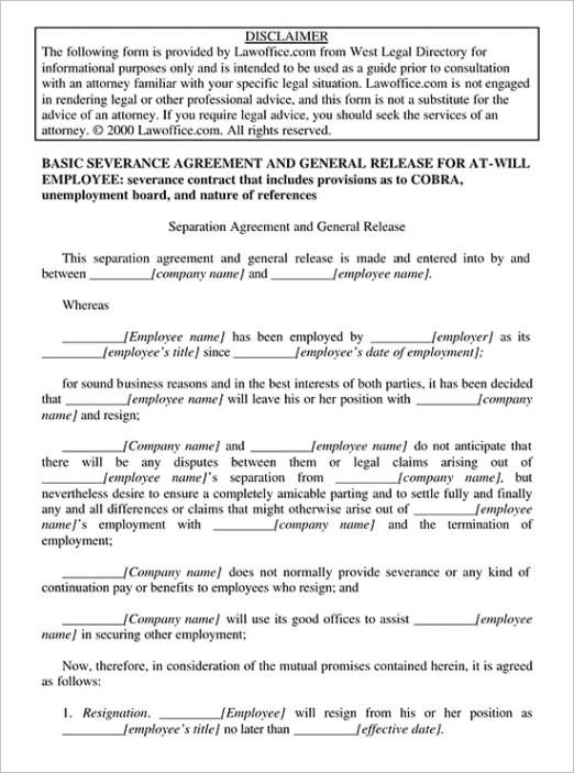 employee separation agreement