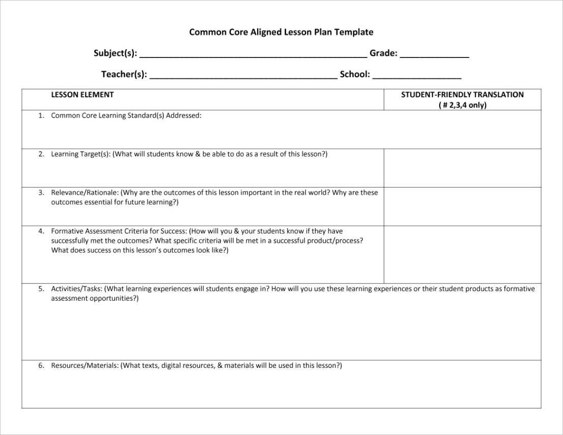 lesson plan templates 12ml