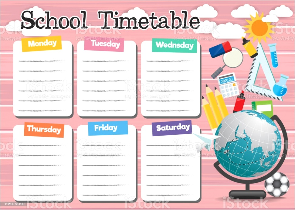 school timetable template with school supplies gm