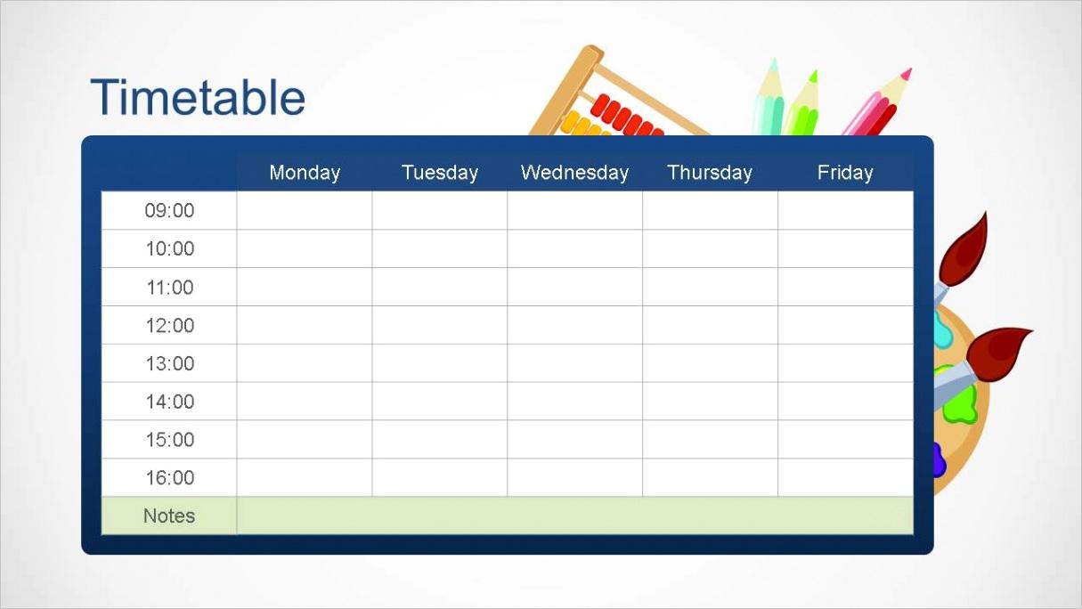 school editable timetable powerpoint template