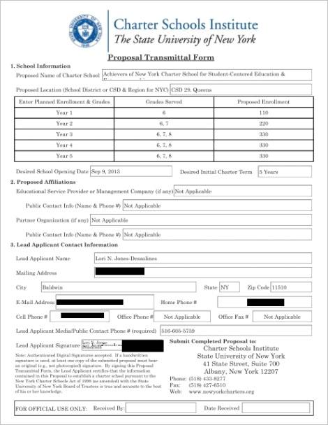 proposal transmittal form newyorkchartersorg