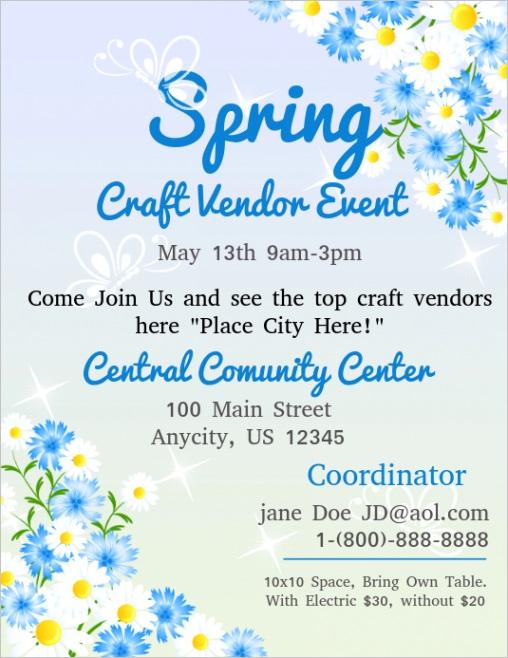 spring craft vendor event flyer template