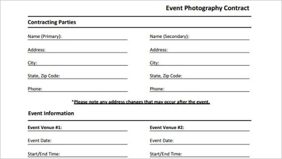 event agreement formsml
