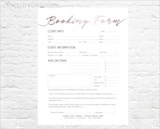 wedding venue booking form professional
