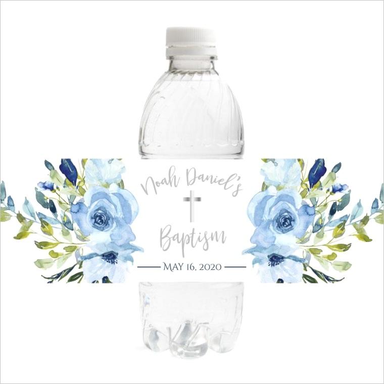 blue floral baptism bottle labels