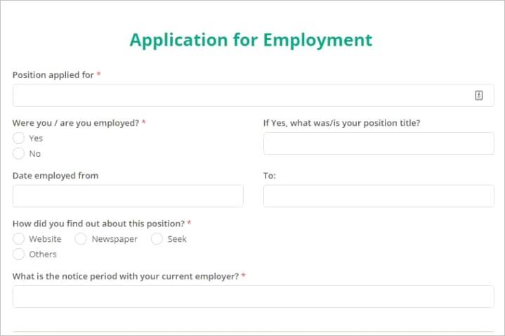 online form templates