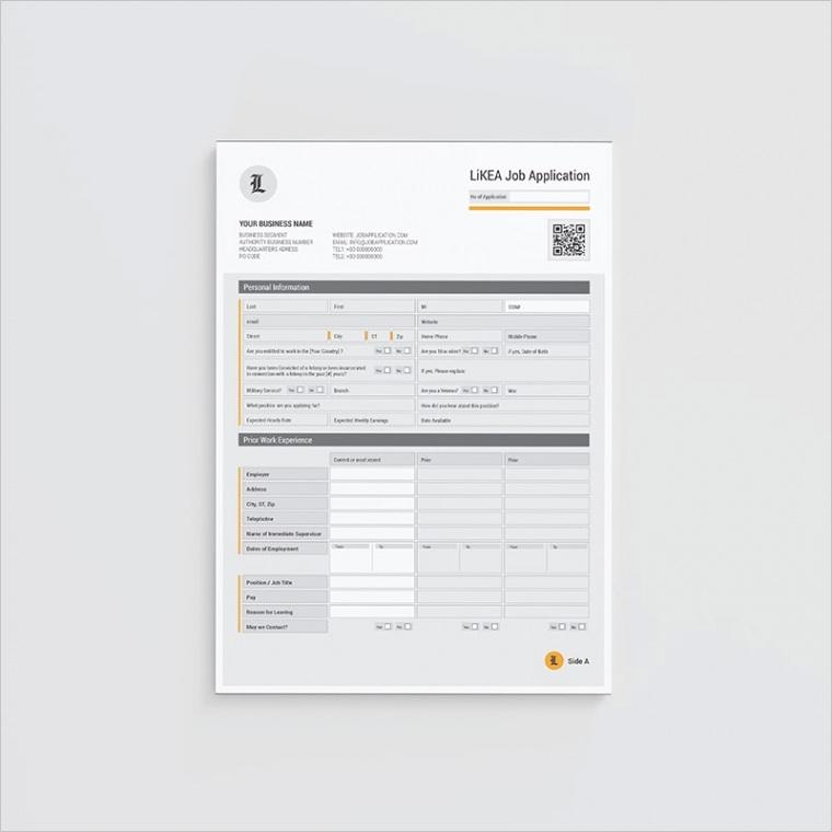 likea job application form template