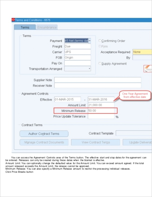 blanket purchase agreement and blanket release in oracle r12