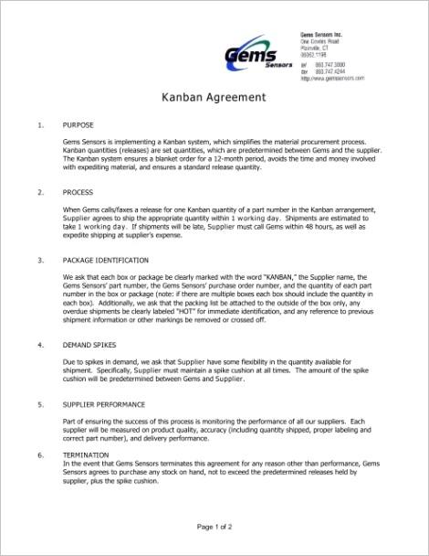 kanban agreement