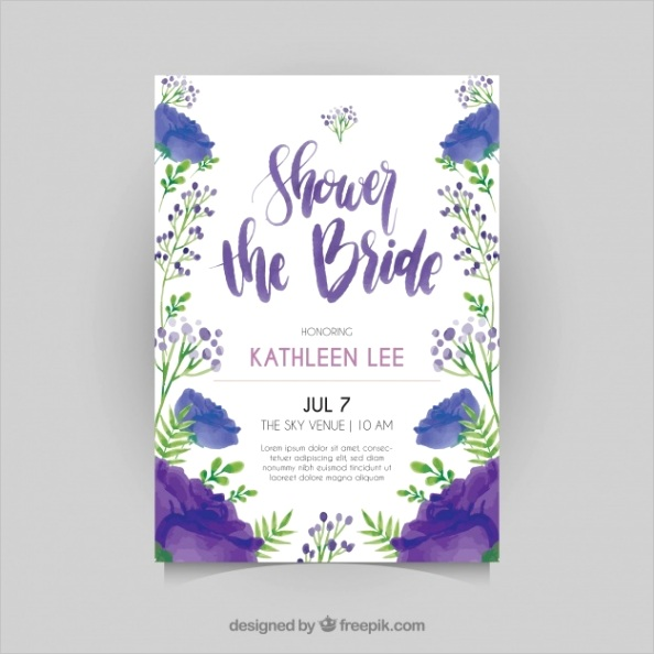 floral bridal shower invitation template watercolor style m