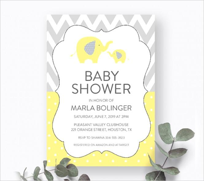 free baby shower invitation template yellow elephant gray chevron instant printable