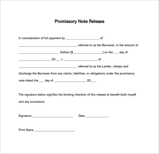 promissory note release forms