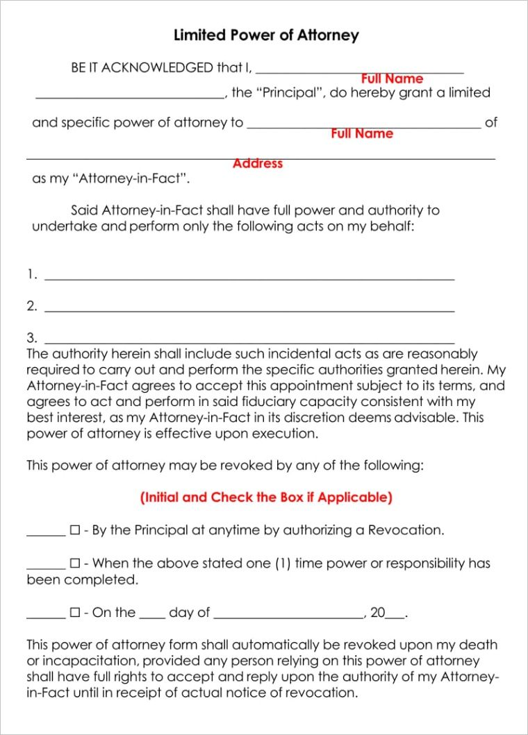 limited power of attorney forms