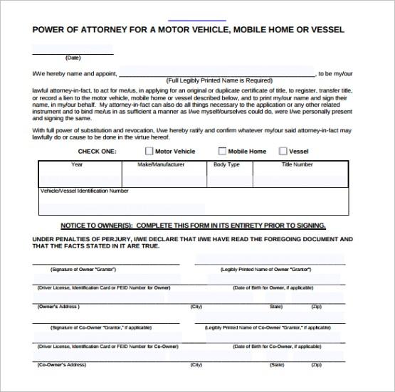 sample blank power of attorney formml