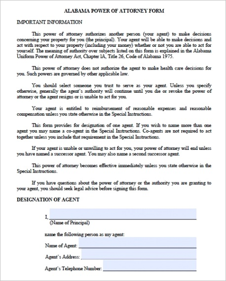 free alabama durable power attorney forms templates