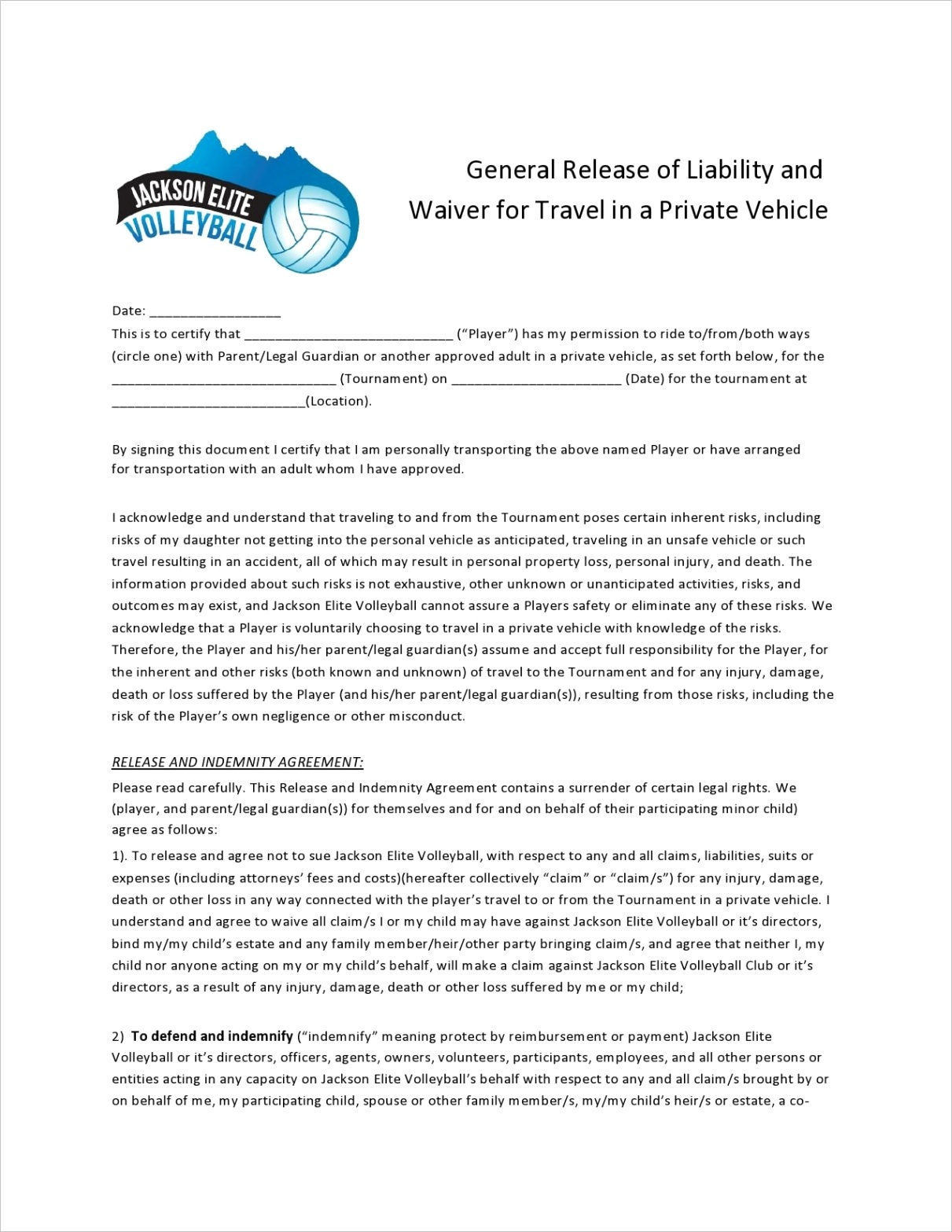 general release of liability