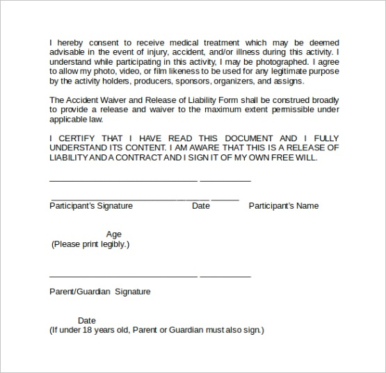 liability waiver formml