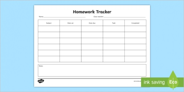 t c homework tracker form