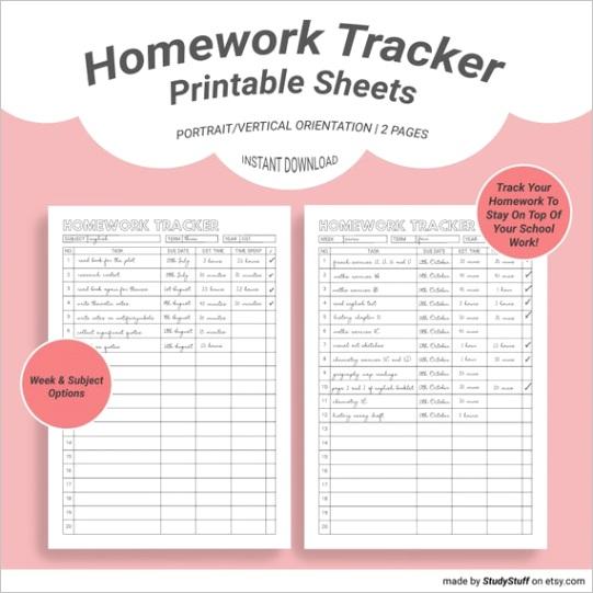 homework tracker printable sheets